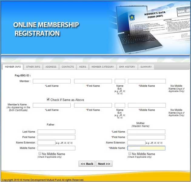 pag ibig online registration member info