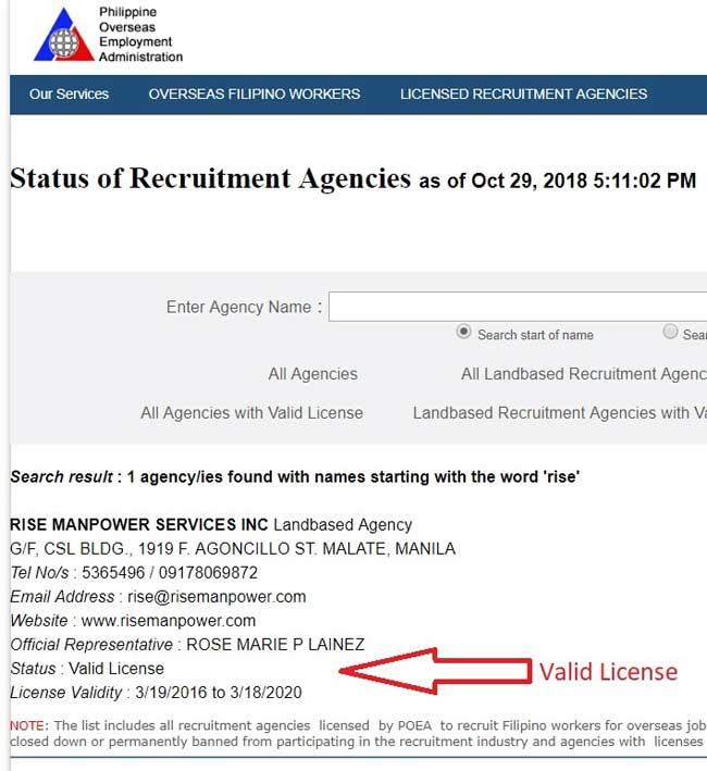 rise manpower services license status