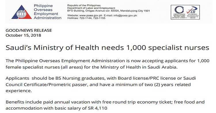 63d74fb8b33 Saudi Arabia Ministry of Health is Hiring 1000 Filipino Nurses