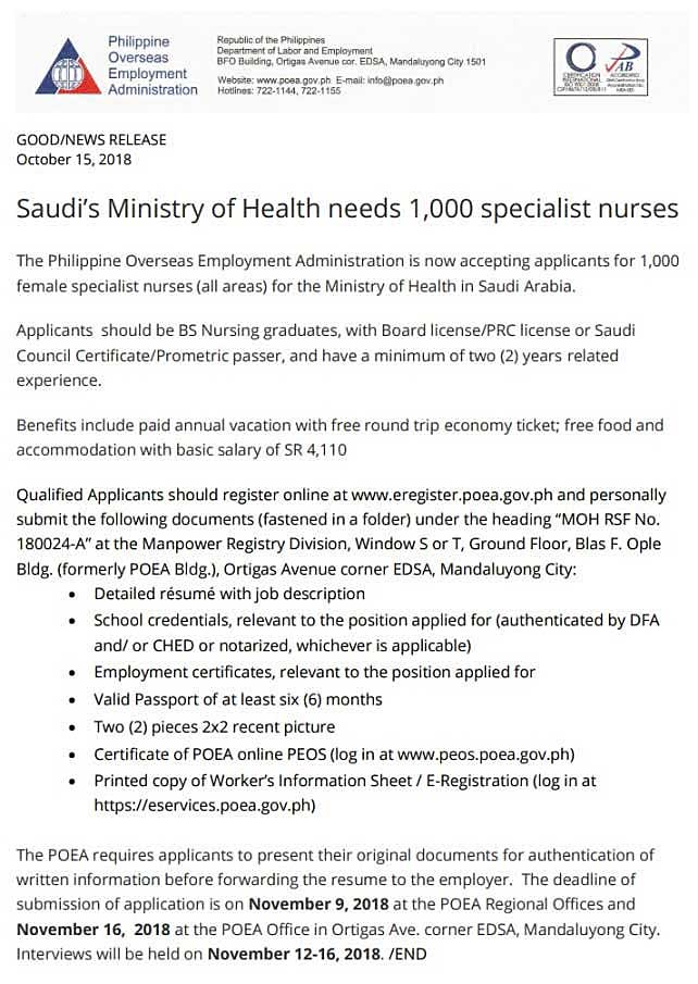 saudi job openings for 1000 filipino nurse