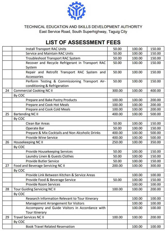 tesda assessment fees page 3