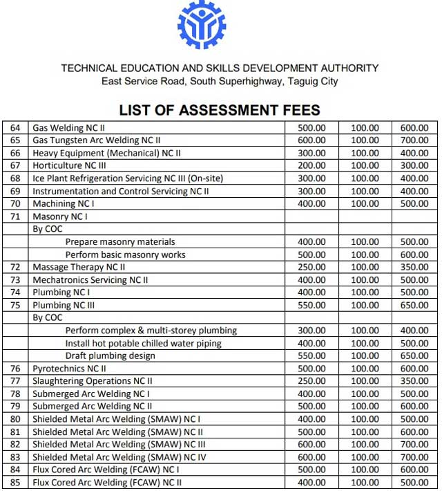 tesda assessment fee courses page 6