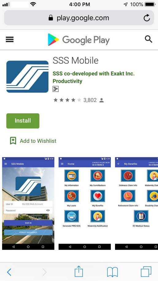 sss app for android