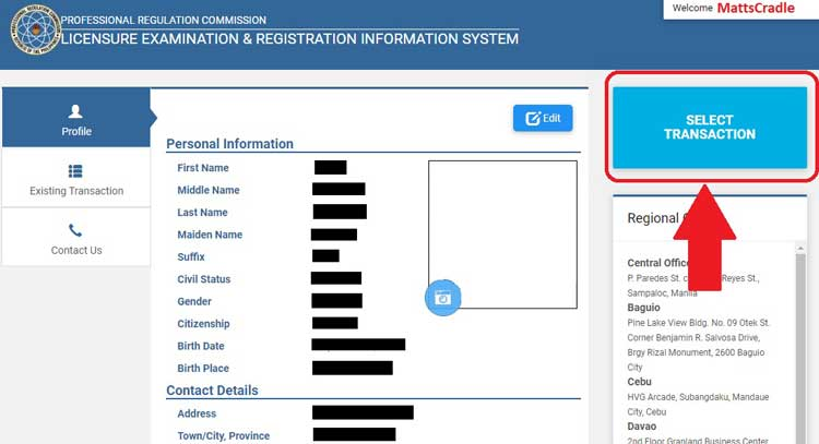 select transaction choose initial registration
