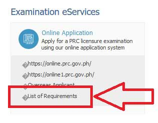 prc board exam application list of requirements