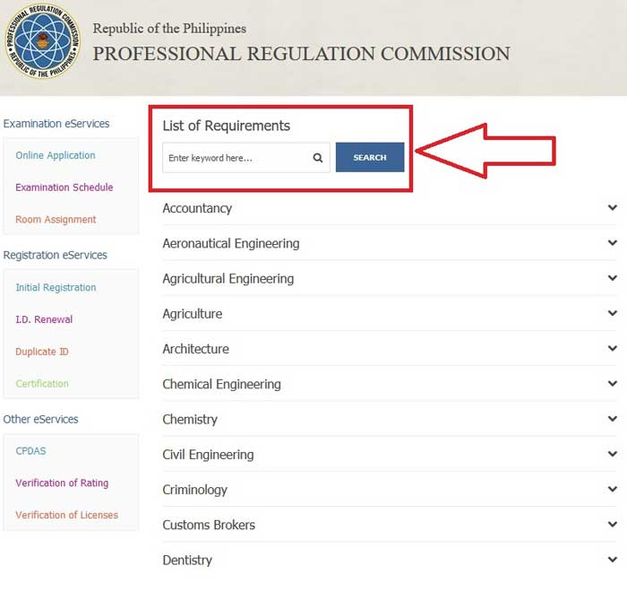 prc online application exam requirements