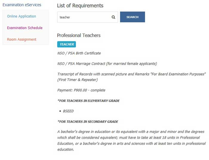 prc exam requirements for teacher