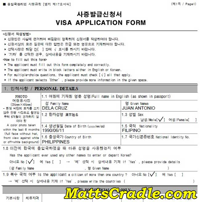 how to fill up korea visa form page