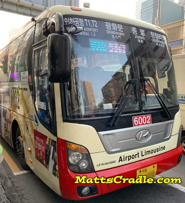 incheon airport to seoul airport bus