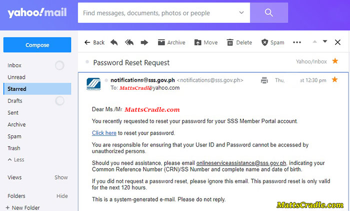 sss password sent to email