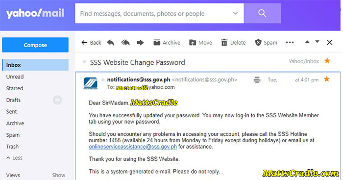 sss change password notification