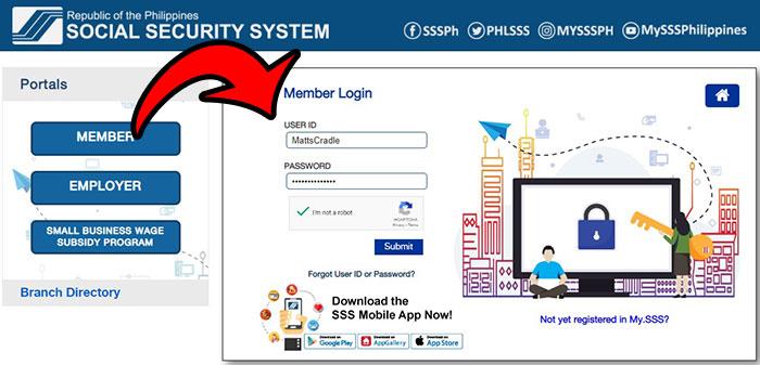 check sss loan balance online login