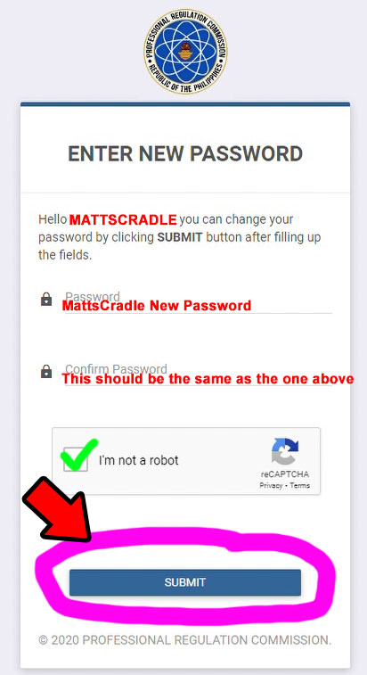 prc new password requirement