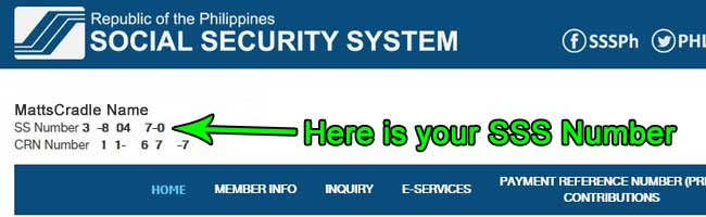 your sss number location in the online website