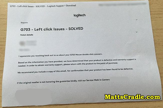 logitech service center email sample
