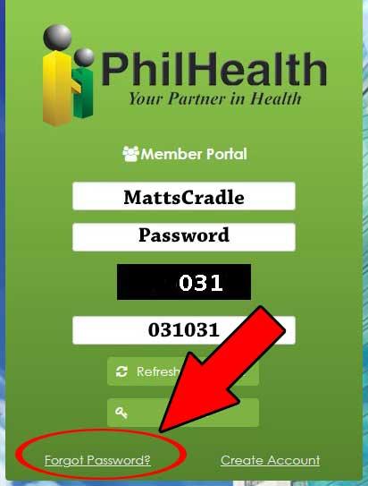 philhealth password recovery