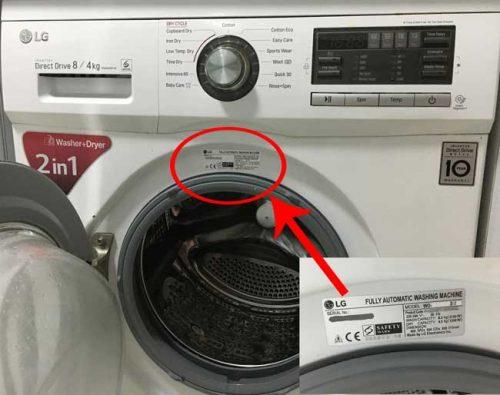 lg washing machine model number front location