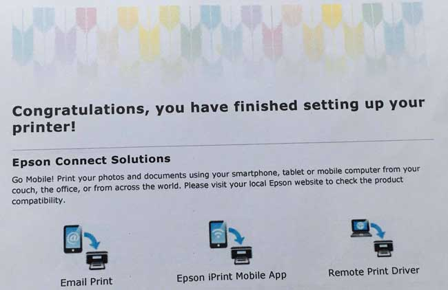 congratulations you have finished setting up your printer
