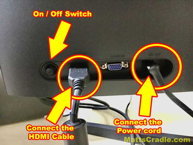 connect the hdmi cable and power cord to second screen
