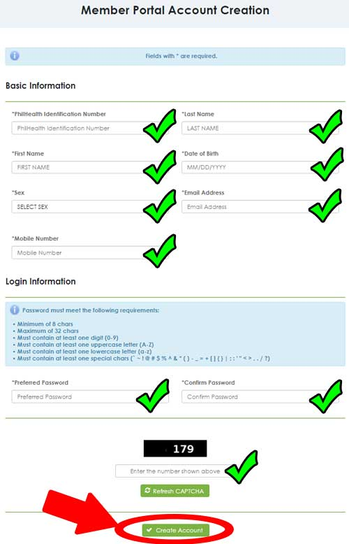 member portal account creation
