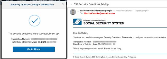 security question setup confirmation from sss