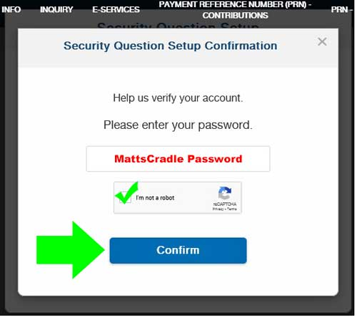 sss login for security question step 3
