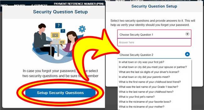 sss security question setup step 1