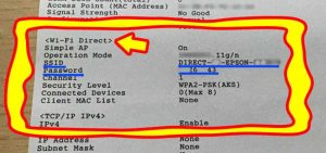 ssid and password of epson wireless printer