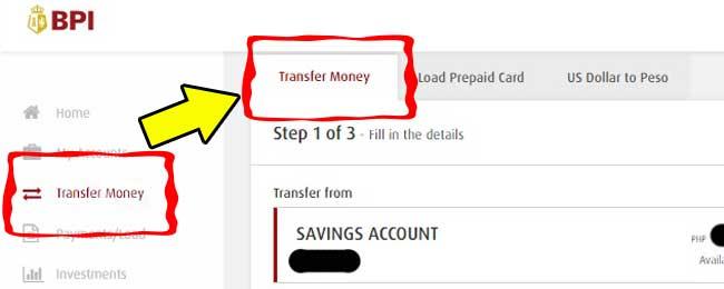 bpi transfer money menuu