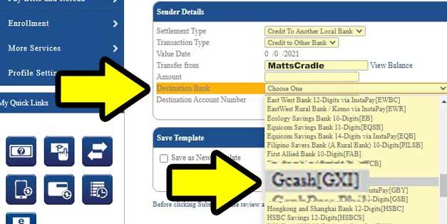 select gcash for destination bank
