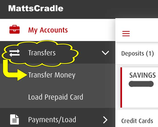 transfers drop down menu in bpi