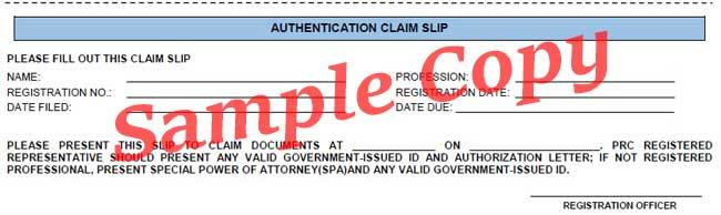 authentication claim slip for prc
