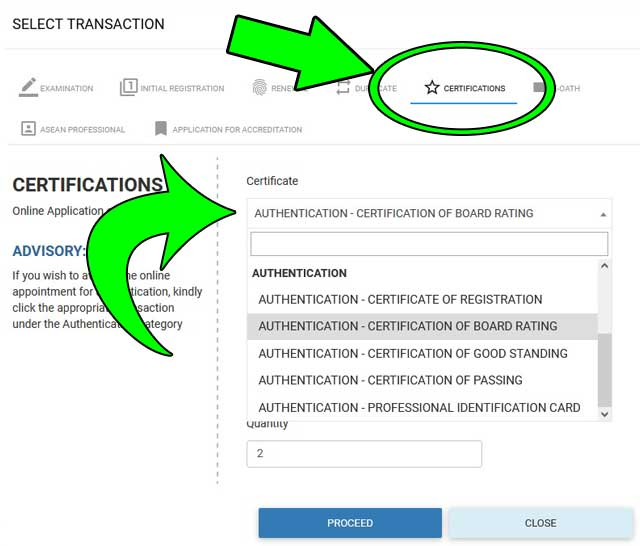 authentication of certificate board rating page