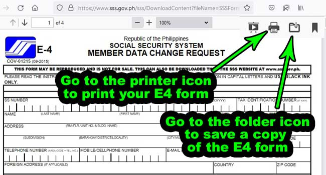 how to print sss e4 form online
