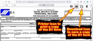 how to print e1 form online