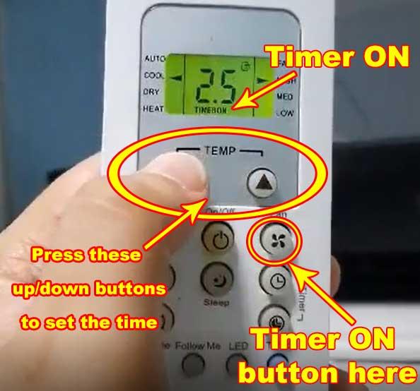 set condura aircon timer ON