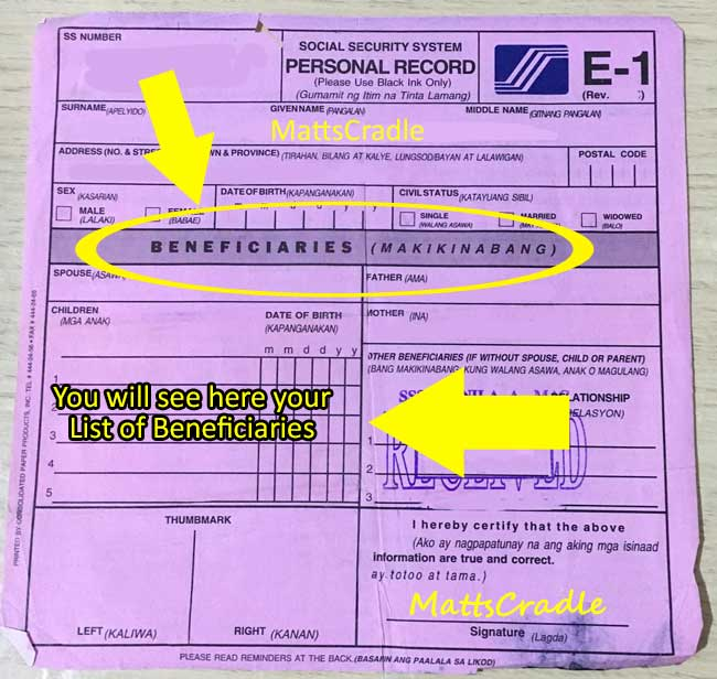 sss dependents in e1 form
