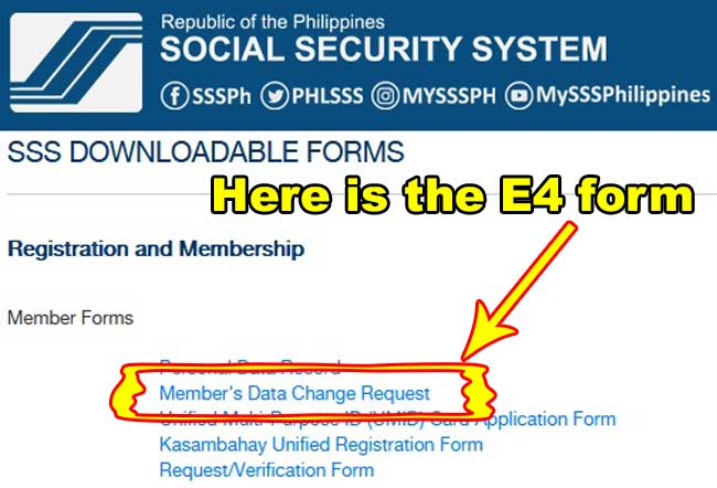 sss members data change request form