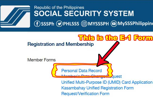 sss personal data record forms