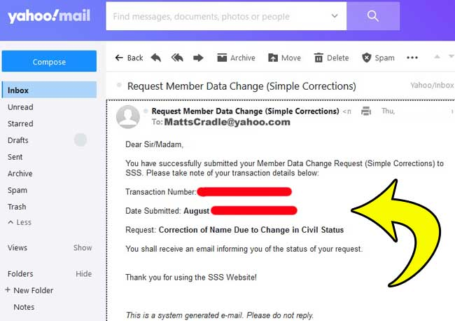 sss will send you system generated email