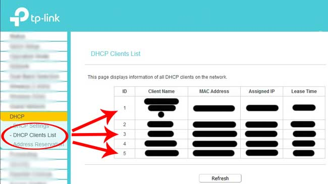 step 4 dhcp clients list